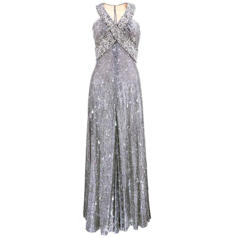70s Silver Lurex Glitter Gown  Encrusted with Iridescent Paillettes and Gems 1