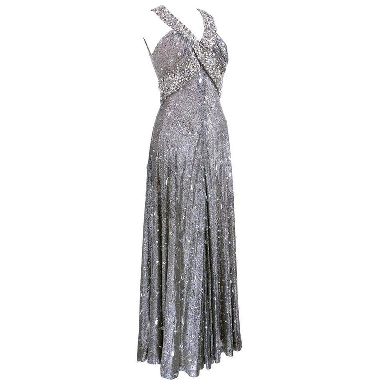 70s Silver Lurex Glitter Gown  Encrusted with Iridescent Paillettes and Gems 2