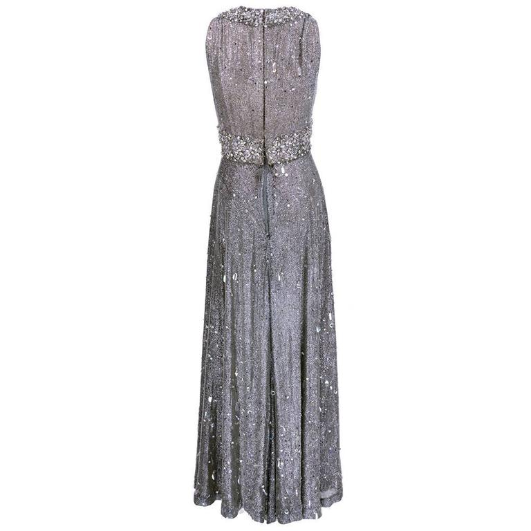 70s Silver Lurex Glitter Gown  Encrusted with Iridescent Paillettes and Gems 3