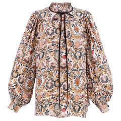 70s Emanuel Ungaro Couture Indiennes Print Silk Blouse