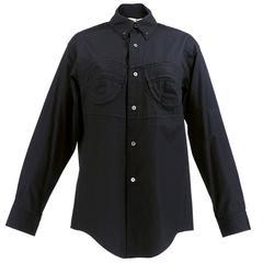 90s Comme des Garcons Black Cotton Button Front Shirt