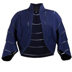 Chado Ralph Rucci Blue Wool Cropped Jacket