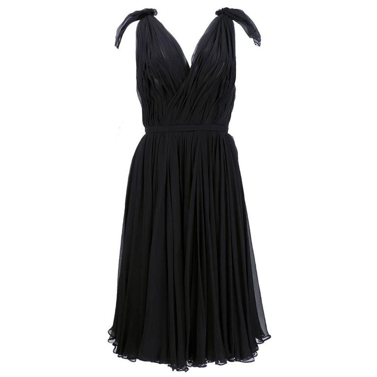 Alexander McQueen Black Chiffon 50s Style Cocktail Dress 1