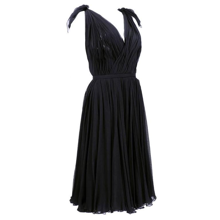 Alexander McQueen Black Chiffon 50s Style Cocktail Dress 2