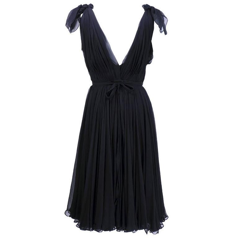 Alexander McQueen Black Chiffon 50s Style Cocktail Dress 3