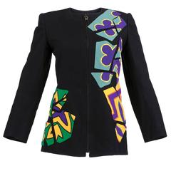 80s Christian Francis Roth Black Applique Zip Front Jacket
