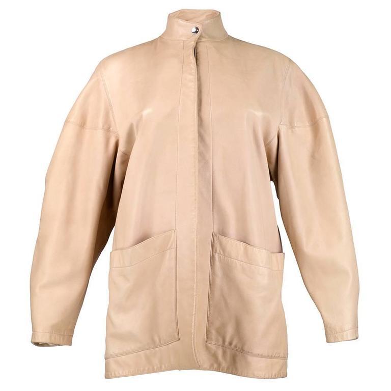 90s Alaia Oversized Nude Leather Jacket  1