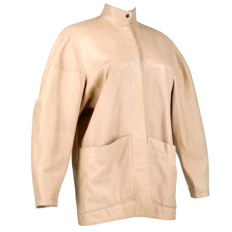 90s Alaia Oversized Nude Leather Jacket  2