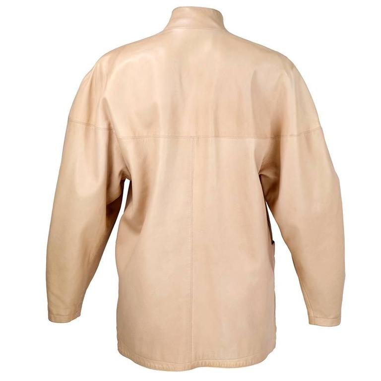 90s Alaia Oversized Nude Leather Jacket  3
