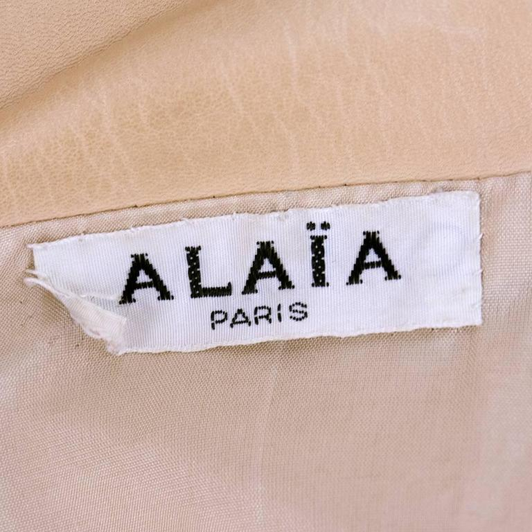 90s Alaia Oversized Nude Leather Jacket  4