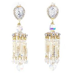 Larry Vrba Huge Crystal and Pearl Chandelier Earrings