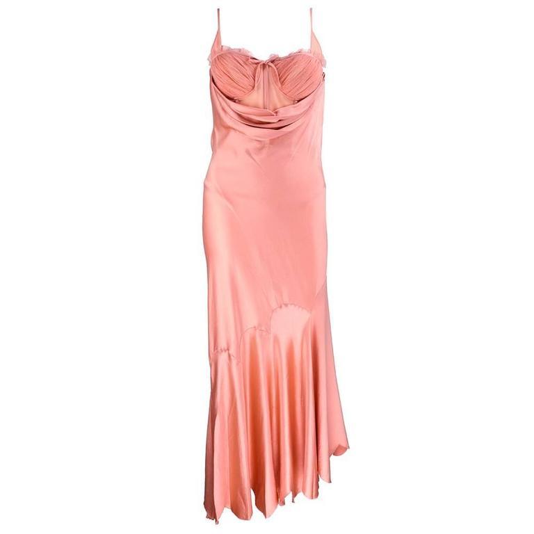 90s Alexander McQueen Pink Satin Bias Gown 2
