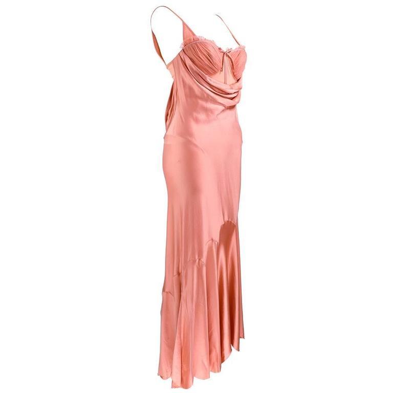 90s Alexander McQueen Pink Satin Bias Gown 1