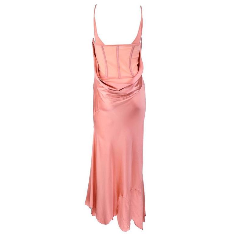 90s Alexander McQueen Pink Satin Bias Gown 3