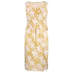 60s Galanos for Amelia Gray Yellow Lace Afternoon Dress