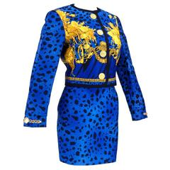 90s Gianni Versace Couture Bold Iconic Print Suit with Logo Hardware