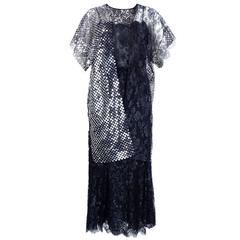 70s Christian Dior Black Lace and Mylar Evening Ensemble