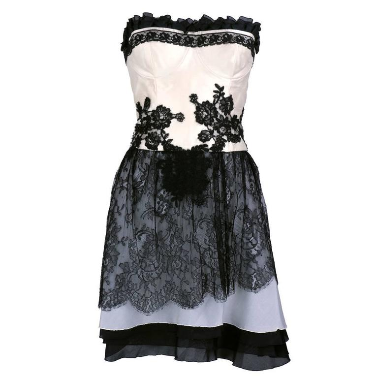 90s Christian Lacroix Black and White Silk and Lace Strapless Cocktail Dress 1