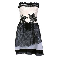90s Christian Lacroix Black and White Silk and Lace Strapless Cocktail Dress