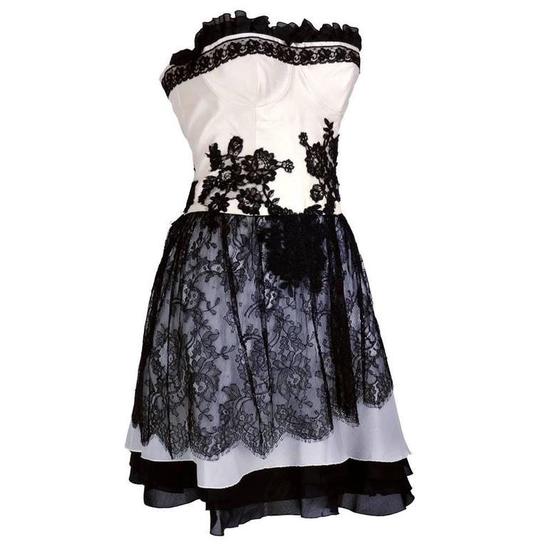 90s Christian Lacroix Black and White Silk and Lace Strapless Cocktail Dress 2