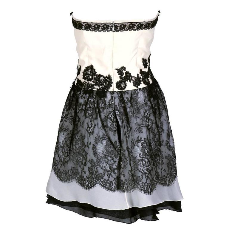 90s Christian Lacroix Black and White Silk and Lace Strapless Cocktail Dress 3