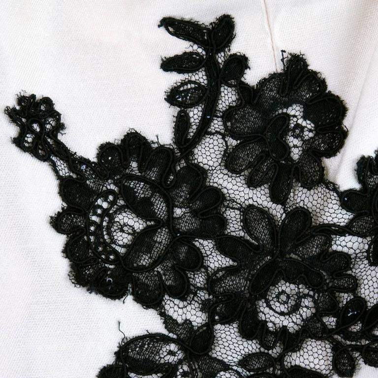 90s Christian Lacroix Black and White Silk and Lace Strapless Cocktail Dress 6