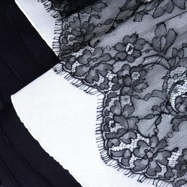 90s Christian Lacroix Black and White Silk and Lace Strapless Cocktail Dress 7