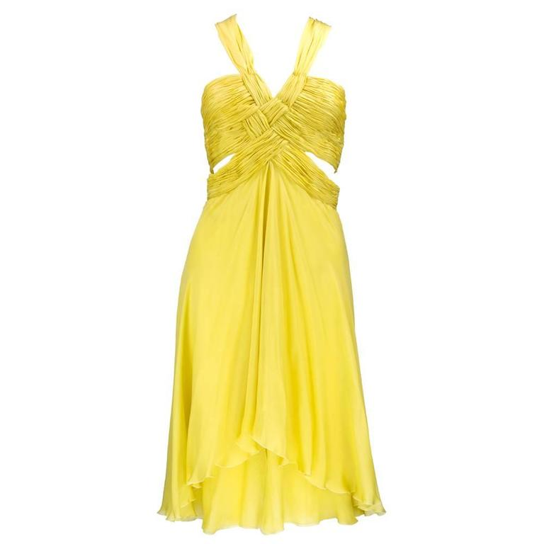 2000s Valentino Yellow Silk Chiffon Peek-A-Boo Cocktail Dress 1