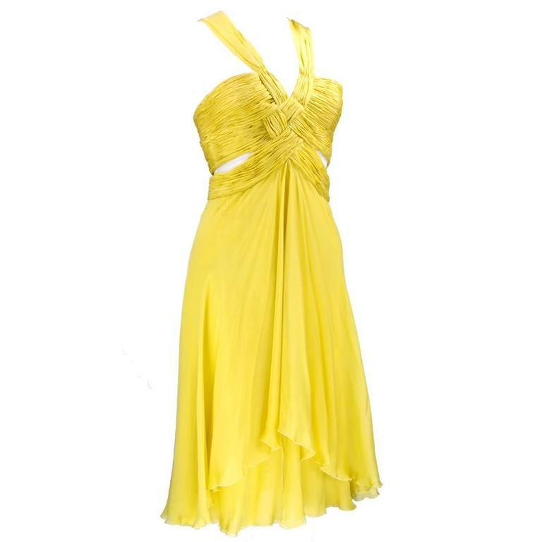 2000s Valentino Yellow Silk Chiffon Peek-A-Boo Cocktail Dress 2