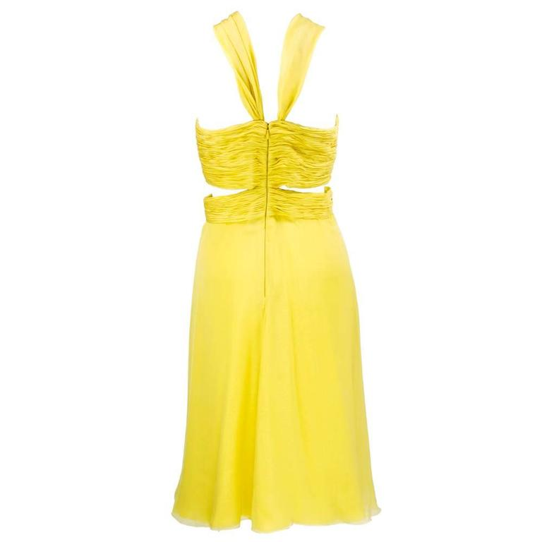 2000s Valentino Yellow Silk Chiffon Peek-A-Boo Cocktail Dress 3