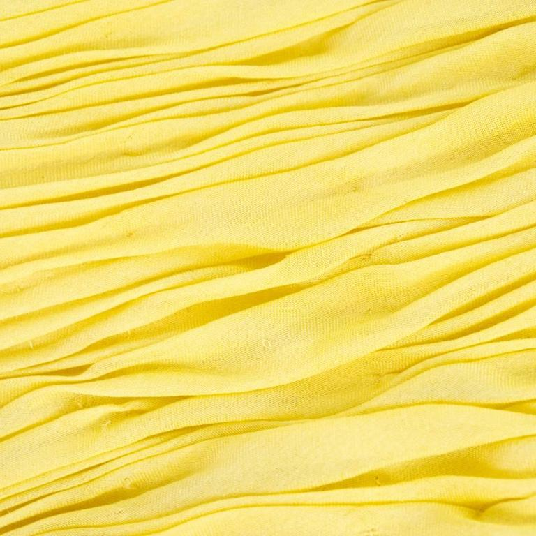 2000s Valentino Yellow Silk Chiffon Peek-A-Boo Cocktail Dress 6