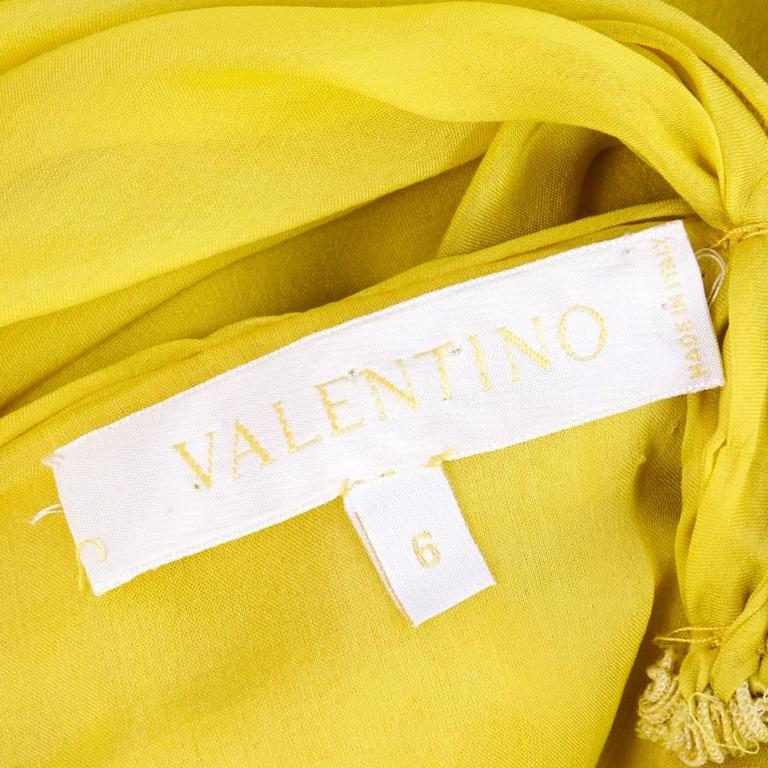 2000s Valentino Yellow Silk Chiffon Peek-A-Boo Cocktail Dress 8