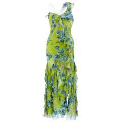 2000s Christian Dior Green Floral Silk Chiffon Bias Cut Gown with Ruffles