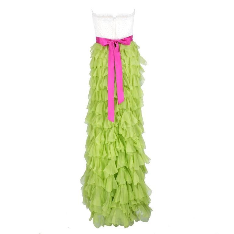 2000s Oscar de la Renta Gown with Tiered Ruffled Chiffon Skirt 3