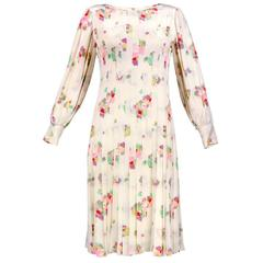 80s Galanos White Pleated Silk Floral Print Dress