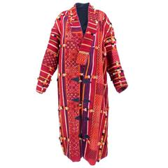 Moroccan Heavyweight Woven Multi-Color Carpet Coat with Coin Buttons