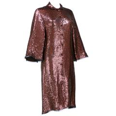 2000s Chado Ralph Rucci Rootbeer Sequin Evening Coat Dress