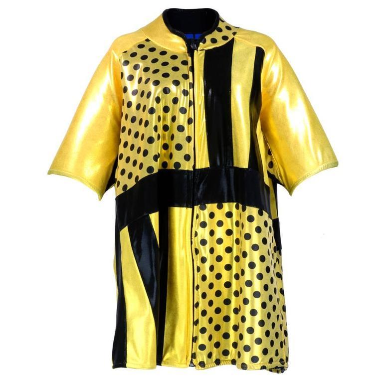 90s Oversized Yellow Polka Dot and Striped Neoprene Coat 1