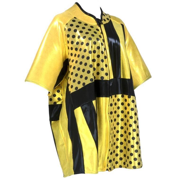 90s Oversized Yellow Polka Dot and Striped Neoprene Coat 2
