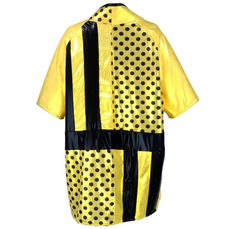 90s Oversized Yellow Polka Dot and Striped Neoprene Coat 3