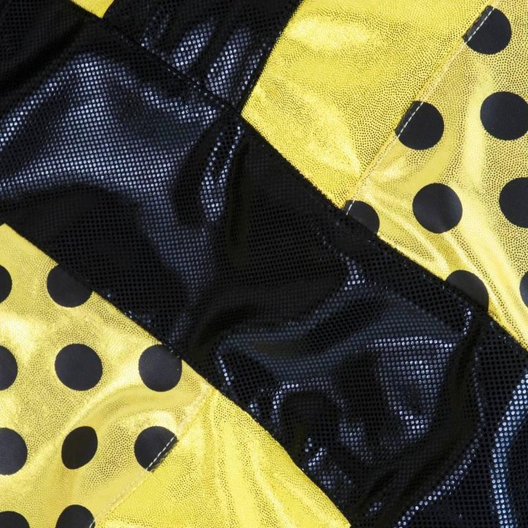 90s Oversized Yellow Polka Dot and Striped Neoprene Coat 4