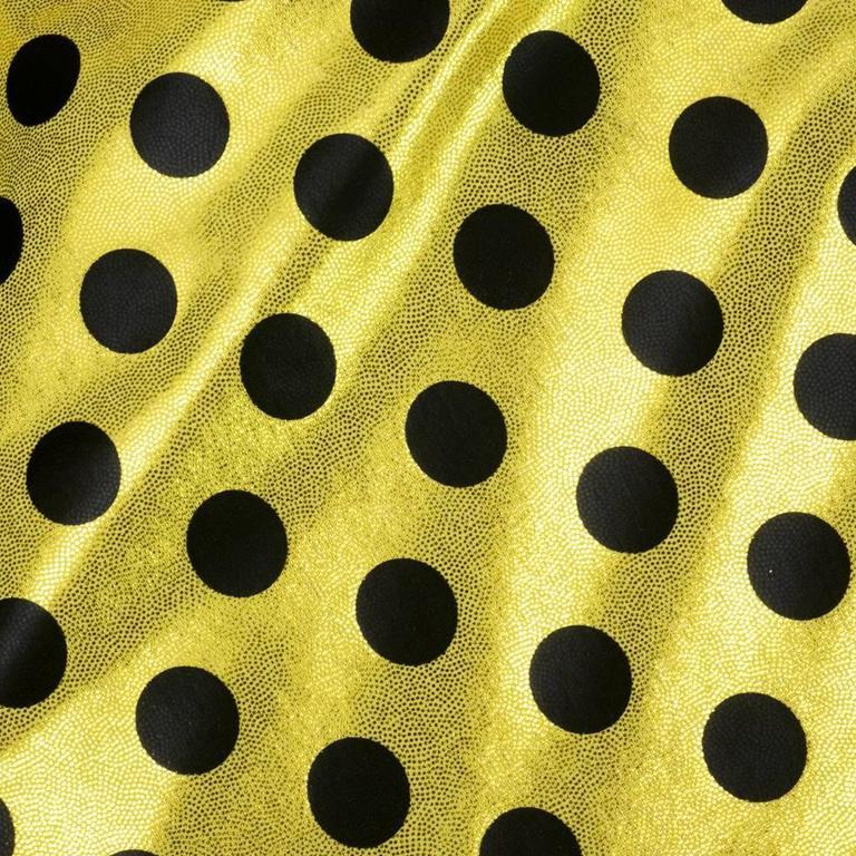 90s Oversized Yellow Polka Dot and Striped Neoprene Coat 5