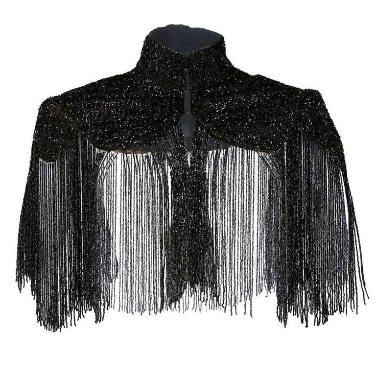 Victorian Black Jet Beaded Capelet with Long Fringe 1