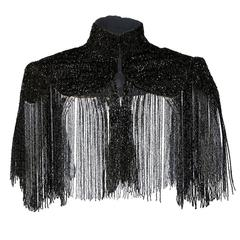 Victorian Black Jet Beaded Capelet with Long Fringe