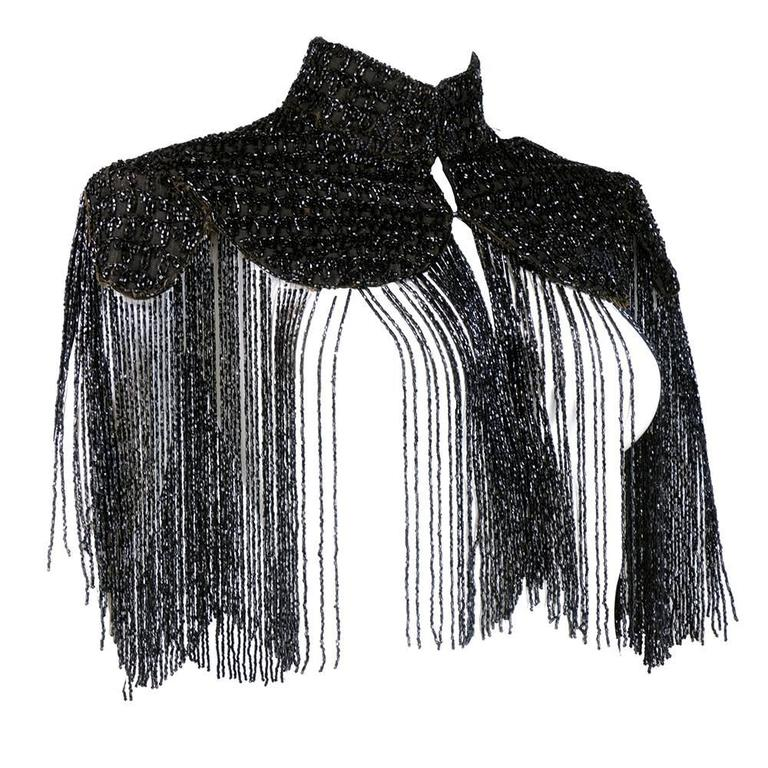 Victorian Black Jet Beaded Capelet with Long Fringe 2