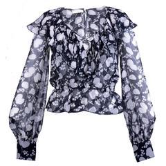 1990s VALENTINO Printed Silk Chiffon Ruffle Neck Blouse
