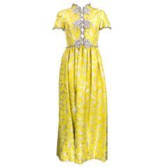 1960s Oscar de la Renta Gold Brocade Gown w/Silver Passementerie