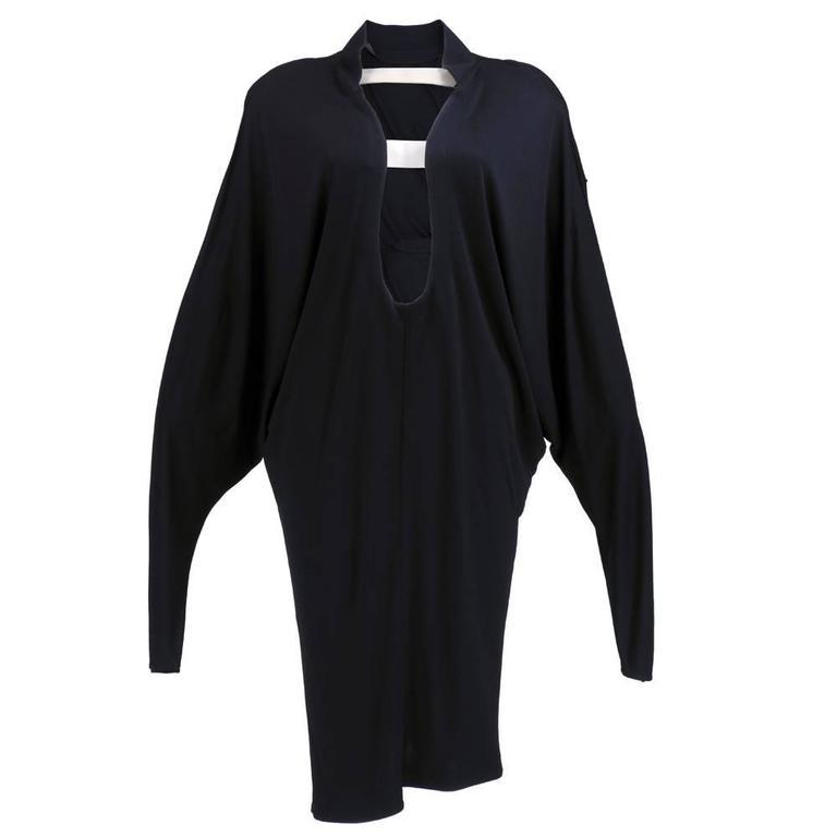 90s Thierry Mugler Black Matte Jersey Modernist Dress 1