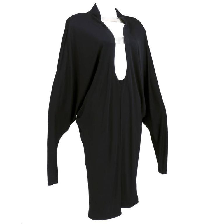 90s Thierry Mugler Black Matte Jersey Modernist Dress 2