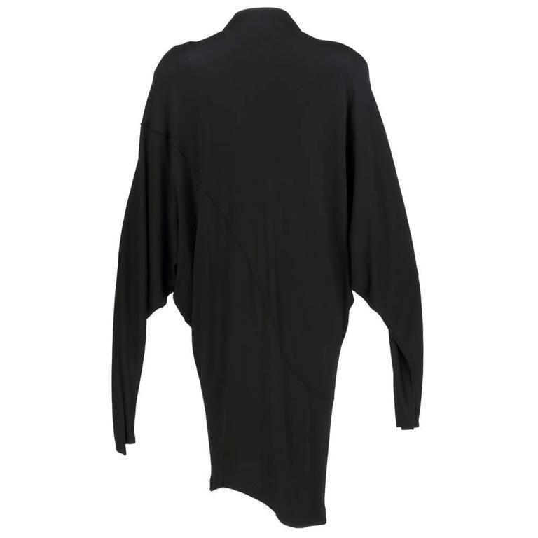 90s Thierry Mugler Black Matte Jersey Modernist Dress 3